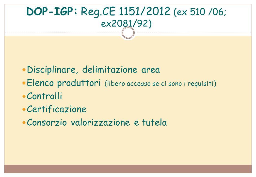 DOP-IGP : Reg.CE 1151/2012 (ex 510 /06; ex2081/92) Disciplinare, delimitazione area Elenco produttori (libero accesso se ci sono i requisiti) Controll