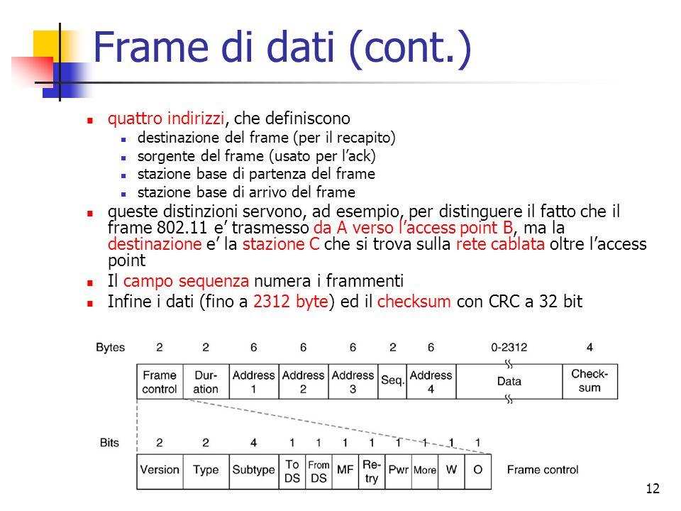 12 Frame di dati (cont.) quattro indirizzi, che definiscono destinazione del frame (per il recapito) sorgente del frame (usato per l'ack) stazione base di partenza del frame stazione base di arrivo del frame queste distinzioni servono, ad esempio, per distinguere il fatto che il frame 802.11 e' trasmesso da A verso l'access point B, ma la destinazione e' la stazione C che si trova sulla rete cablata oltre l'access point Il campo sequenza numera i frammenti Infine i dati (fino a 2312 byte) ed il checksum con CRC a 32 bit