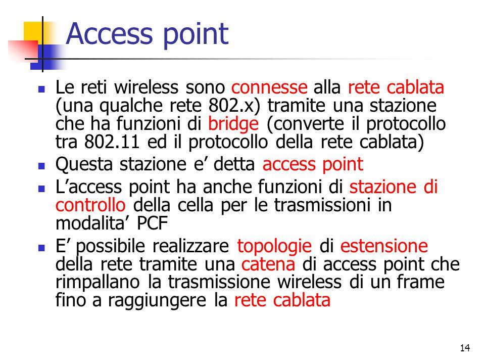 14 Access point Le reti wireless sono connesse alla rete cablata (una qualche rete 802.x) tramite una stazione che ha funzioni di bridge (converte il protocollo tra 802.11 ed il protocollo della rete cablata) Questa stazione e' detta access point L'access point ha anche funzioni di stazione di controllo della cella per le trasmissioni in modalita' PCF E' possibile realizzare topologie di estensione della rete tramite una catena di access point che rimpallano la trasmissione wireless di un frame fino a raggiungere la rete cablata