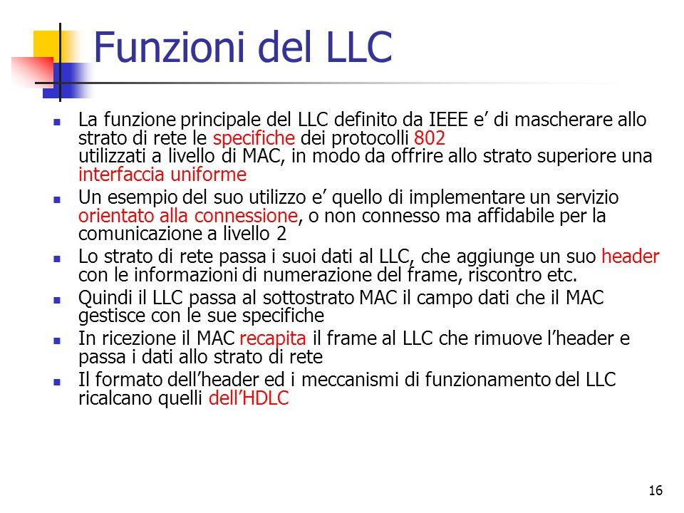 16 Funzioni del LLC La funzione principale del LLC definito da IEEE e' di mascherare allo strato di rete le specifiche dei protocolli 802 utilizzati a livello di MAC, in modo da offrire allo strato superiore una interfaccia uniforme Un esempio del suo utilizzo e' quello di implementare un servizio orientato alla connessione, o non connesso ma affidabile per la comunicazione a livello 2 Lo strato di rete passa i suoi dati al LLC, che aggiunge un suo header con le informazioni di numerazione del frame, riscontro etc.