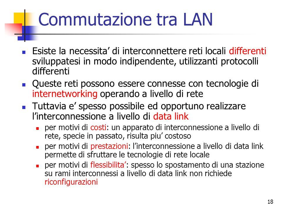 18 Commutazione tra LAN Esiste la necessita' di interconnettere reti locali differenti sviluppatesi in modo indipendente, utilizzanti protocolli differenti Queste reti possono essere connesse con tecnologie di internetworking operando a livello di rete Tuttavia e' spesso possibile ed opportuno realizzare l'interconnessione a livello di data link per motivi di costi: un apparato di interconnessione a livello di rete, specie in passato, risulta piu' costoso per motivi di prestazioni: l'interconnessione a livello di data link permette di sfruttare le tecnologie di rete locale per motivi di flessibilita': spesso lo spostamento di una stazione su rami interconnessi a livello di data link non richiede riconfigurazioni
