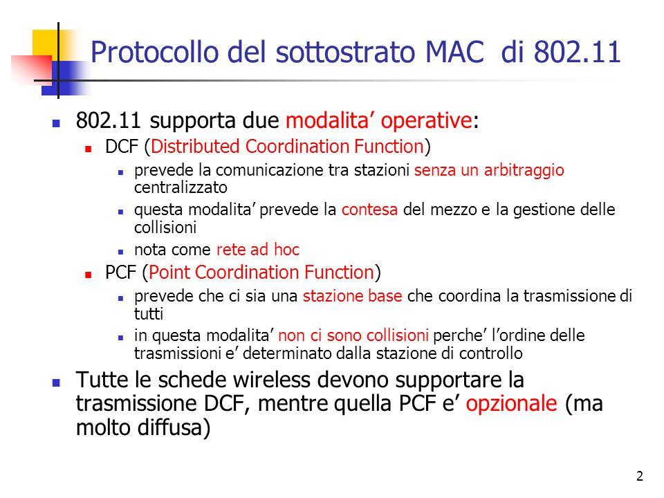 2 Protocollo del sottostrato MAC di 802.11 802.11 supporta due modalita' operative: DCF (Distributed Coordination Function) prevede la comunicazione tra stazioni senza un arbitraggio centralizzato questa modalita' prevede la contesa del mezzo e la gestione delle collisioni nota come rete ad hoc PCF (Point Coordination Function) prevede che ci sia una stazione base che coordina la trasmissione di tutti in questa modalita' non ci sono collisioni perche' l'ordine delle trasmissioni e' determinato dalla stazione di controllo Tutte le schede wireless devono supportare la trasmissione DCF, mentre quella PCF e' opzionale (ma molto diffusa)