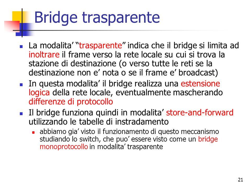 21 Bridge trasparente La modalita' trasparente indica che il bridge si limita ad inoltrare il frame verso la rete locale su cui si trova la stazione di destinazione (o verso tutte le reti se la destinazione non e' nota o se il frame e' broadcast) In questa modalita' il bridge realizza una estensione logica della rete locale, eventualmente mascherando differenze di protocollo Il bridge funziona quindi in modalita' store-and-forward utilizzando le tabelle di instradamento abbiamo gia' visto il funzionamento di questo meccanismo studiando lo switch, che puo' essere visto come un bridge monoprotocollo in modalita' trasparente