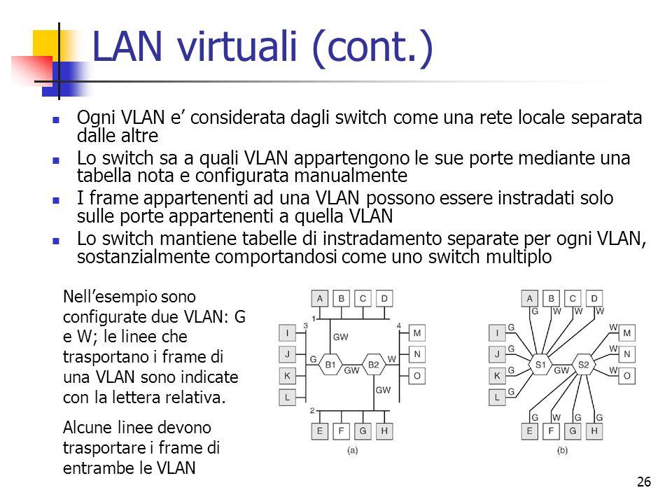 26 LAN virtuali (cont.) Ogni VLAN e' considerata dagli switch come una rete locale separata dalle altre Lo switch sa a quali VLAN appartengono le sue porte mediante una tabella nota e configurata manualmente I frame appartenenti ad una VLAN possono essere instradati solo sulle porte appartenenti a quella VLAN Lo switch mantiene tabelle di instradamento separate per ogni VLAN, sostanzialmente comportandosi come uno switch multiplo Nell'esempio sono configurate due VLAN: G e W; le linee che trasportano i frame di una VLAN sono indicate con la lettera relativa.