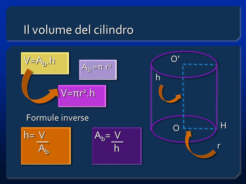 Il volume del cilindro V=A b.h h O O' H r V=πr 2.h h= V A b A b A b =π r 2 Formule inverse A b = V h