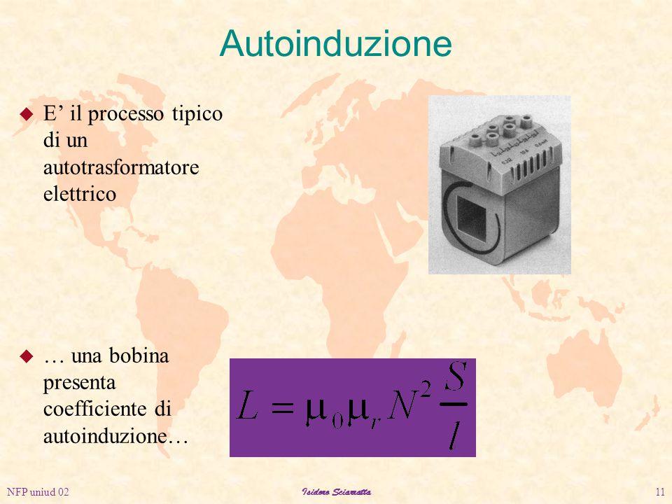 NFP uniud 02Isidoro Sciarratta11 Autoinduzione u E' il processo tipico di un autotrasformatore elettrico u … una bobina presenta coefficiente di autoinduzione…