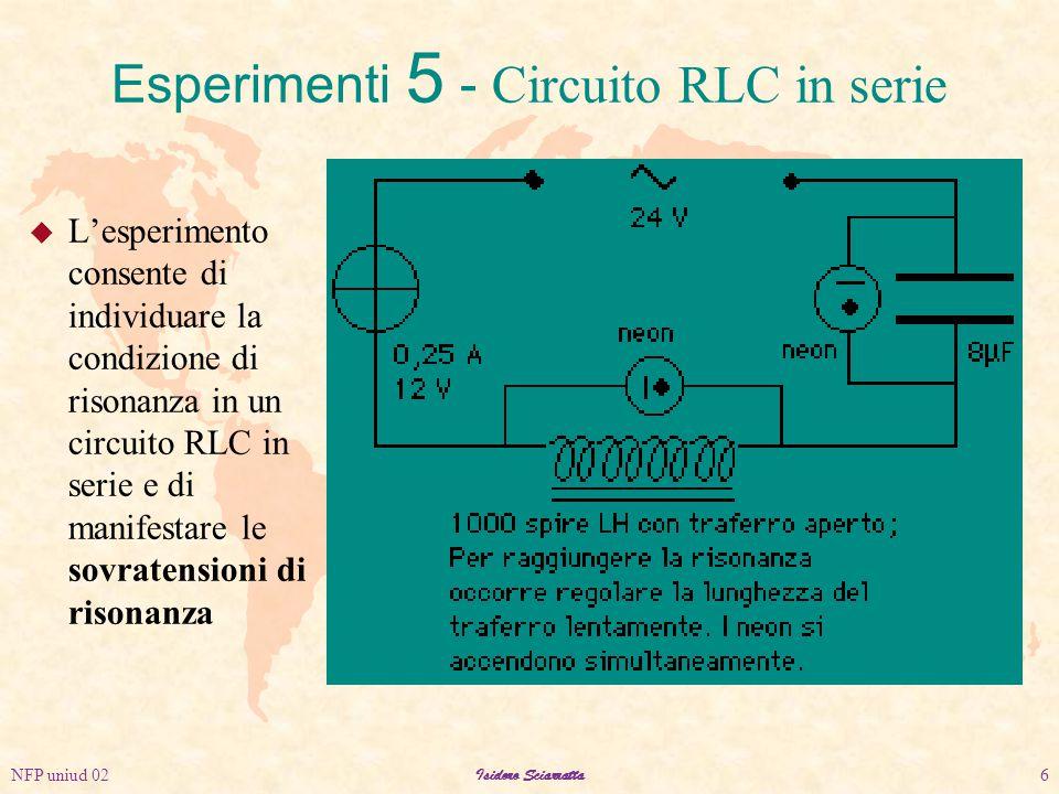 NFP uniud 02Isidoro Sciarratta6 u L'esperimento consente di individuare la condizione di risonanza in un circuito RLC in serie e di manifestare le sovratensioni di risonanza Esperimenti 5 - Circuito RLC in serie