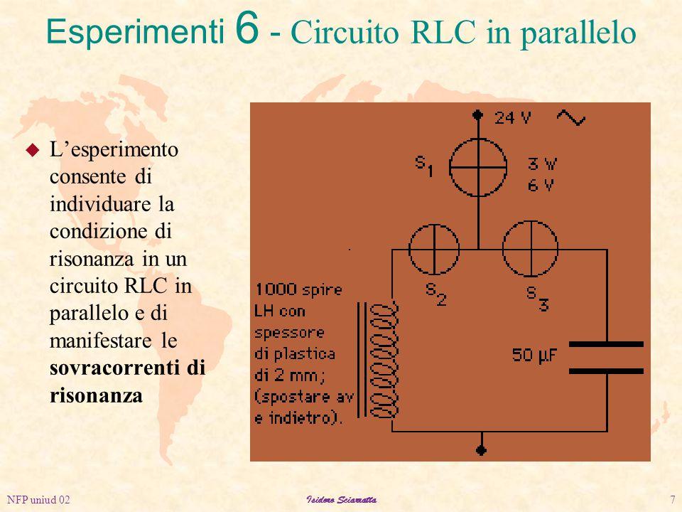 NFP uniud 02Isidoro Sciarratta7 u L'esperimento consente di individuare la condizione di risonanza in un circuito RLC in parallelo e di manifestare le sovracorrenti di risonanza Esperimenti 6 - Circuito RLC in parallelo