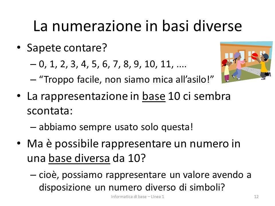 """La numerazione in basi diverse Sapete contare? – 0, 1, 2, 3, 4, 5, 6, 7, 8, 9, 10, 11,.... – """"Troppo facile, non siamo mica all'asilo!"""" La rappresenta"""