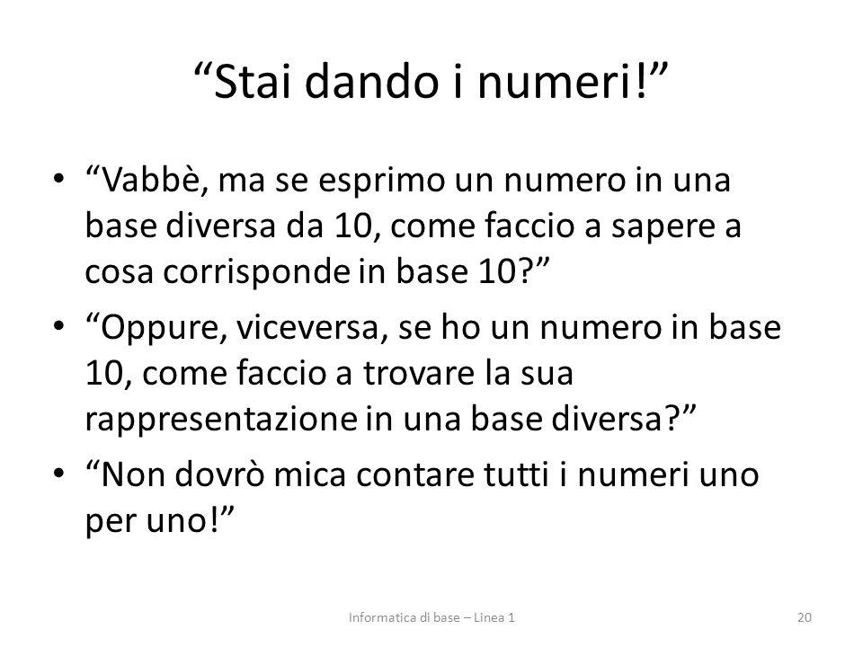 """""""Stai dando i numeri!"""" """"Vabbè, ma se esprimo un numero in una base diversa da 10, come faccio a sapere a cosa corrisponde in base 10?"""" """"Oppure, viceve"""