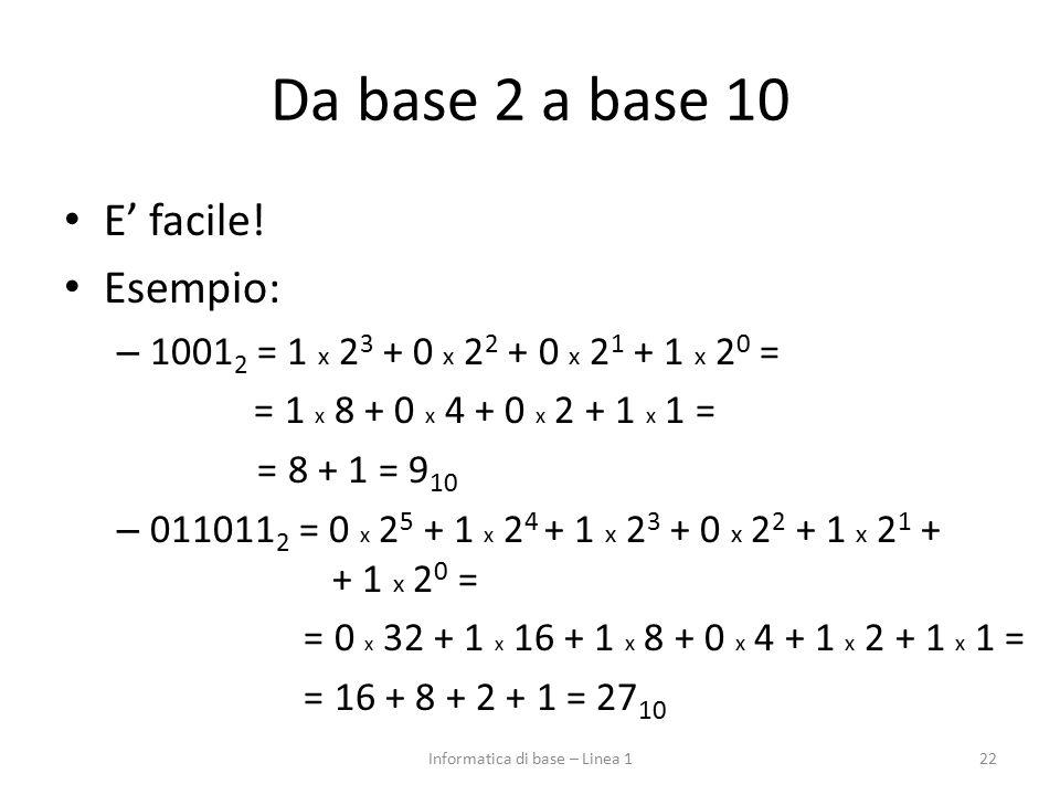 Da base 2 a base 10 E' facile! Esempio: – 1001 2 = 1 x 2 3 + 0 x 2 2 + 0 x 2 1 + 1 x 2 0 = = 1 x 8 + 0 x 4 + 0 x 2 + 1 x 1 = = 8 + 1 = 9 10 – 011011 2