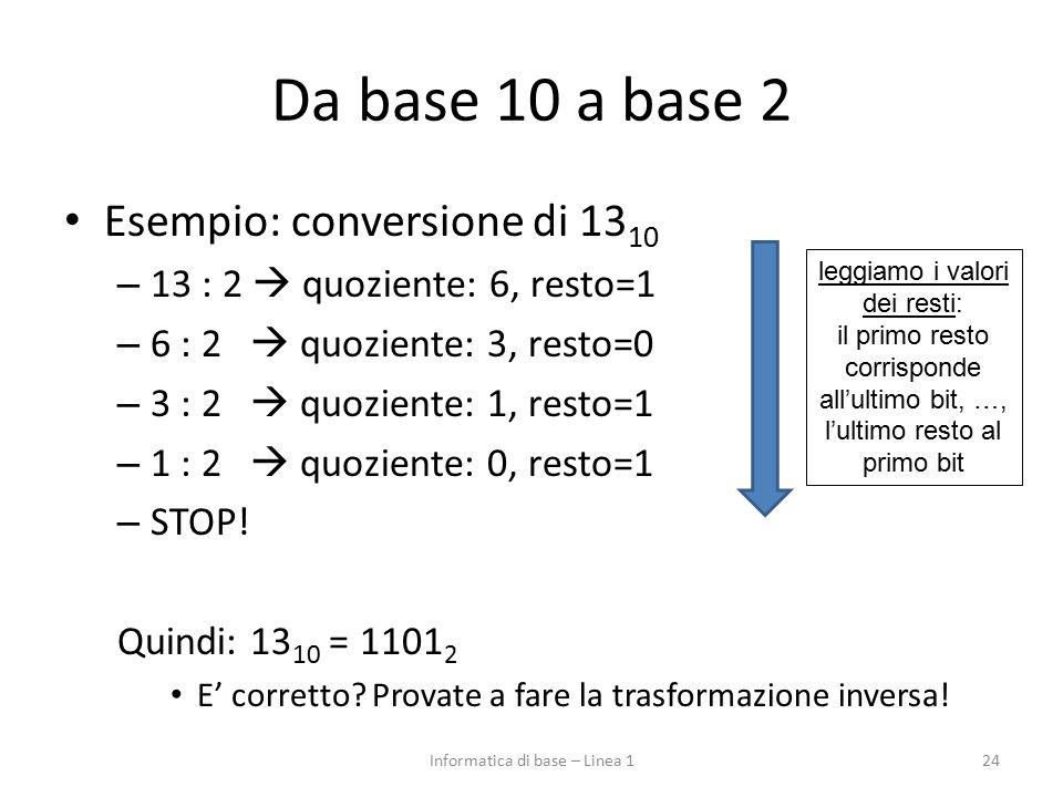 Da base 10 a base 2 Esempio: conversione di 13 10 – 13 : 2  quoziente: 6, resto=1 – 6 : 2  quoziente: 3, resto=0 – 3 : 2  quoziente: 1, resto=1 – 1