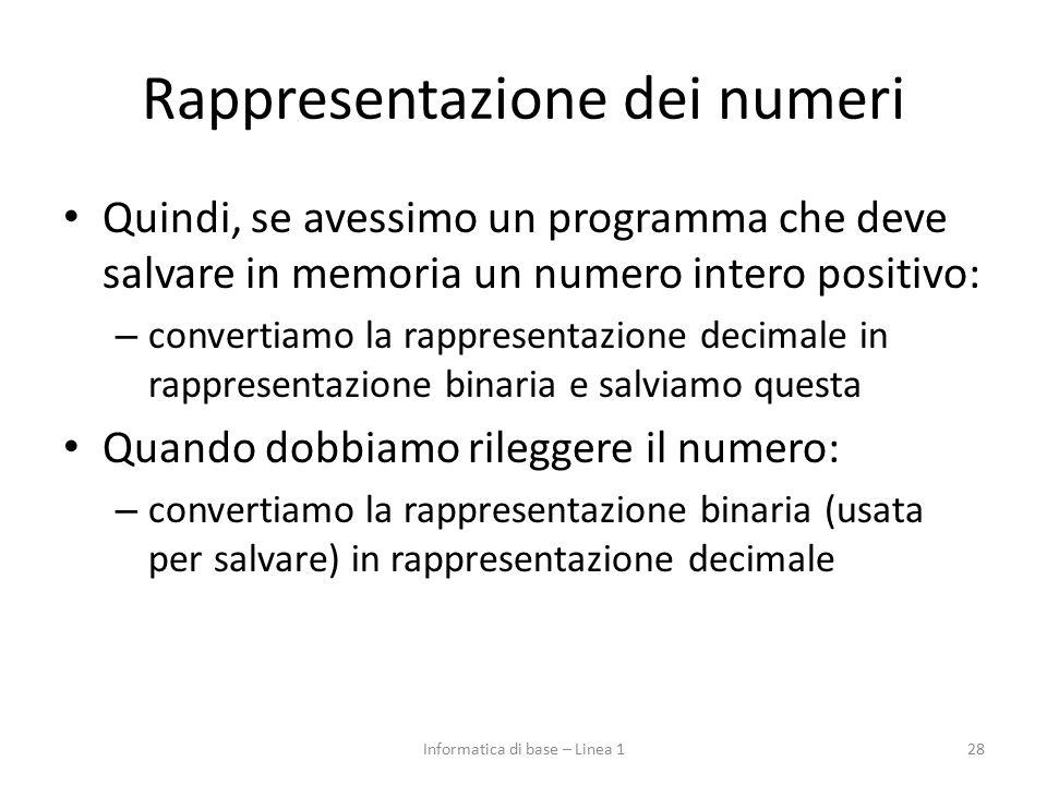 Rappresentazione dei numeri Quindi, se avessimo un programma che deve salvare in memoria un numero intero positivo: – convertiamo la rappresentazione