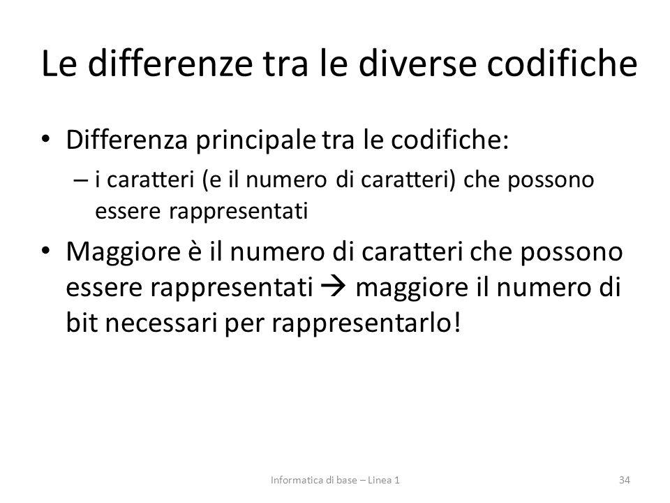 Le differenze tra le diverse codifiche Differenza principale tra le codifiche: – i caratteri (e il numero di caratteri) che possono essere rappresenta