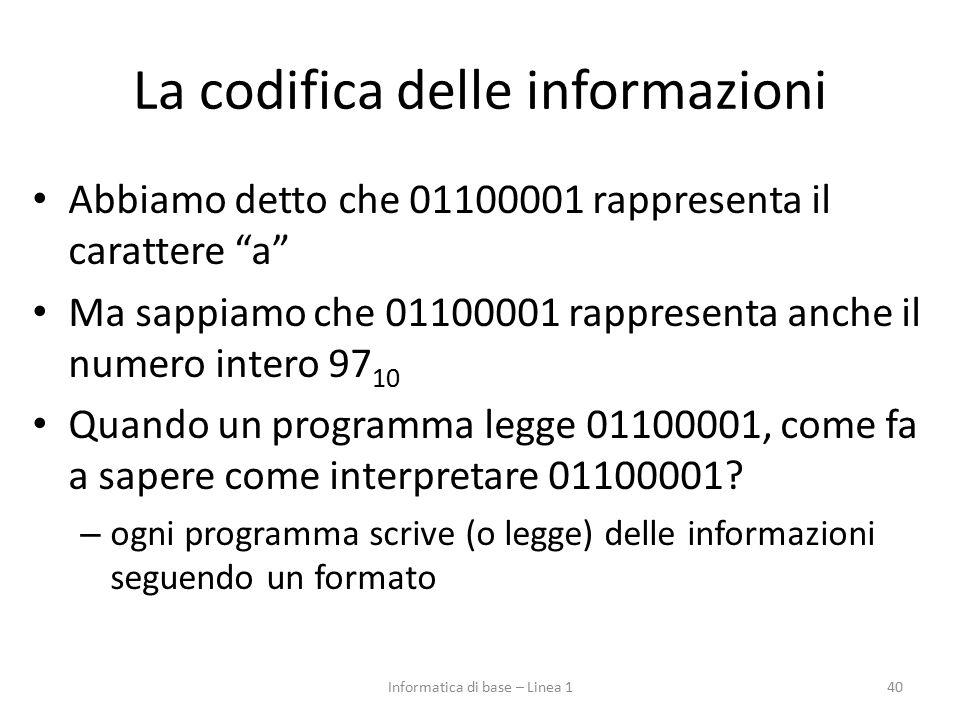 """La codifica delle informazioni Abbiamo detto che 01100001 rappresenta il carattere """"a"""" Ma sappiamo che 01100001 rappresenta anche il numero intero 97"""