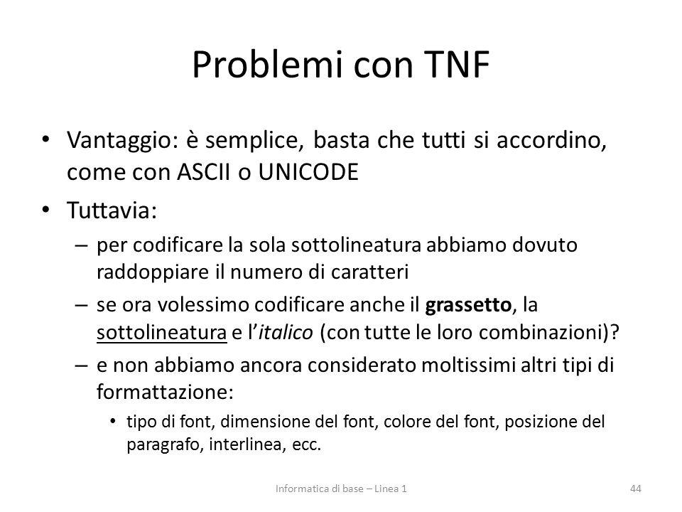 Problemi con TNF Vantaggio: è semplice, basta che tutti si accordino, come con ASCII o UNICODE Tuttavia: – per codificare la sola sottolineatura abbia