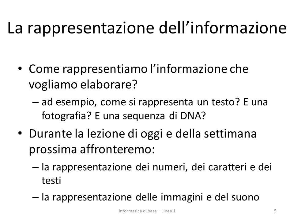 La rappresentazione dell'informazione Come rappresentiamo l'informazione che vogliamo elaborare? – ad esempio, come si rappresenta un testo? E una fot
