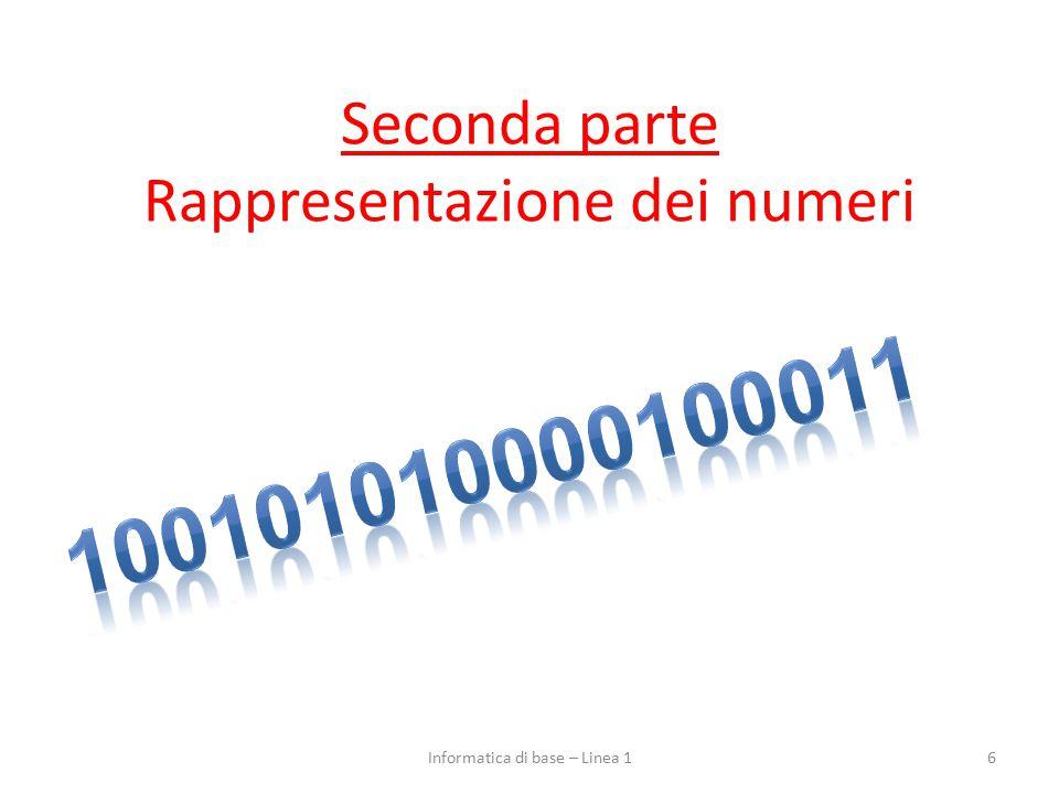 Seconda parte Rappresentazione dei numeri 6Informatica di base – Linea 1