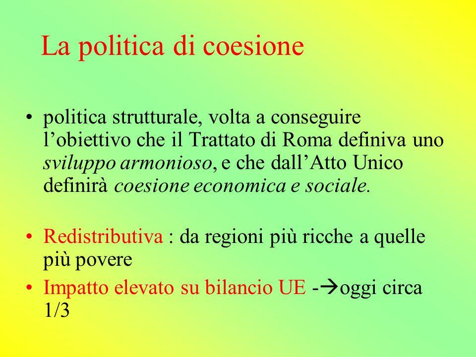 La governance della politica di coesione (post 1988) -modalità intergovernativa- ancora oggi nella definizione del budget (prospettiva finanziaria); Commissione- ruolo rilevante di agenda setting.