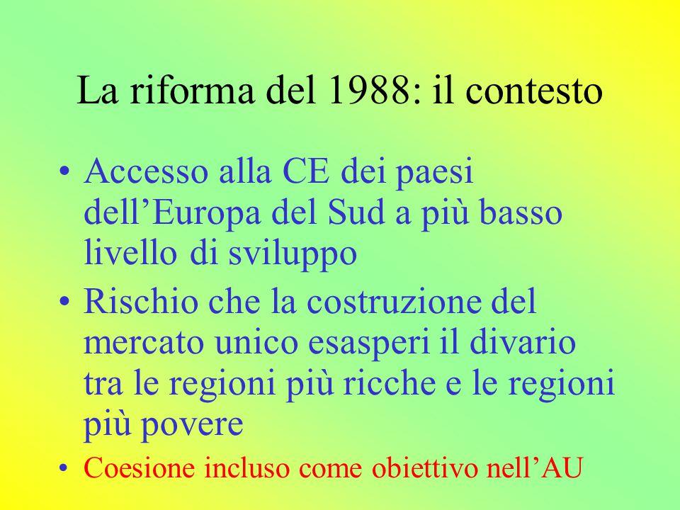 I contesto della riforma del 1988 Crescita del finanziamento, che nel 1988 è raddoppiato e poi continua a crescere Unificazione dei fondi principali (FSE,FEOGA e Fondo europeo di sviluppo regionale) Fissati 4 principi di base per i fondi: concentrazione addizionalità programmazione parternariato