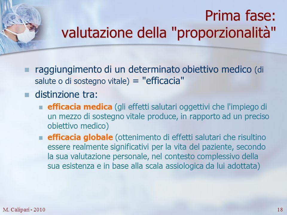 M. Calipari - 201018 Prima fase: valutazione della