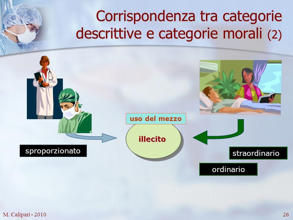 M. Calipari - 201026 Corrispondenza tra categorie descrittive e categorie morali (2) sproporzionato ordinario straordinario illecito uso del mezzo