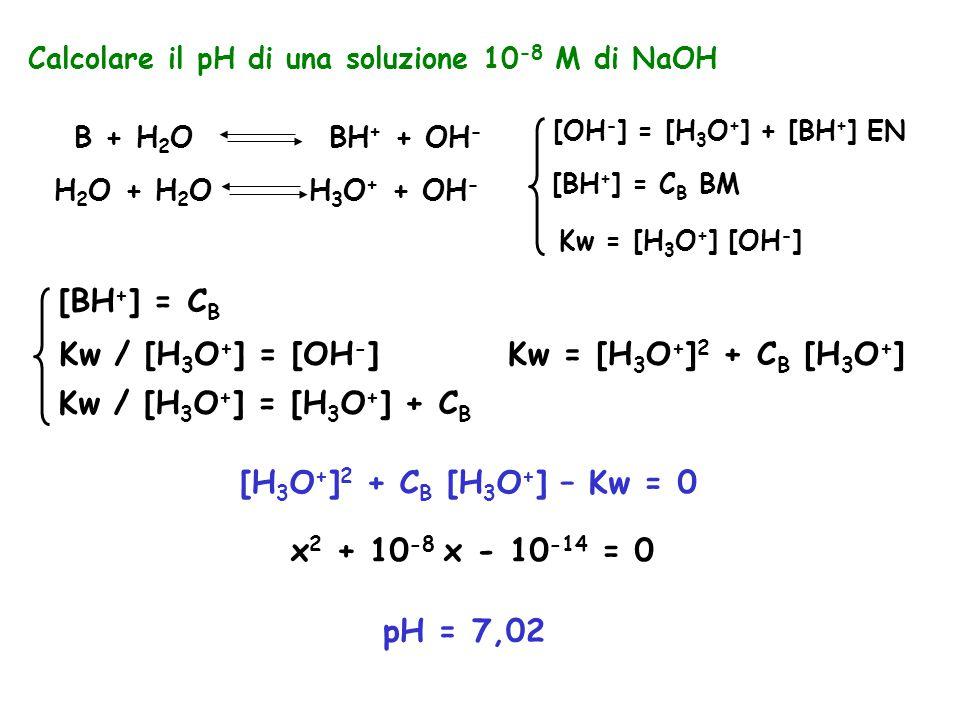 Calcolare il pH di una soluzione 10 -8 M di NaOH B + H 2 O BH + + OH - H 2 O + H 2 O H 3 O + + OH - [OH - ] = [H 3 O + ] + [BH + ] EN [BH + ] = C B BM