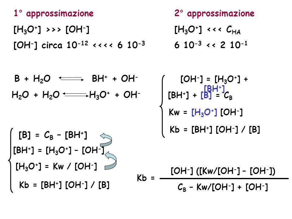 1° approssimazione [H 3 O + ] >>> [OH - ] [OH - ] circa 10 -12 <<<< 6 10 -3 2° approssimazione [H 3 O + ] <<< C HA 6 10 -3 << 2 10 -1 B + H 2 O BH + +