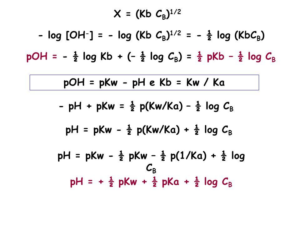 X = (Kb C B ) 1/2 - log [OH - ] = - log (Kb C B ) 1/2 = - ½ log (KbC B ) pOH = - ½ log Kb + (– ½ log C B ) = ½ pKb – ½ log C B pOH = pKw - pH e Kb = K