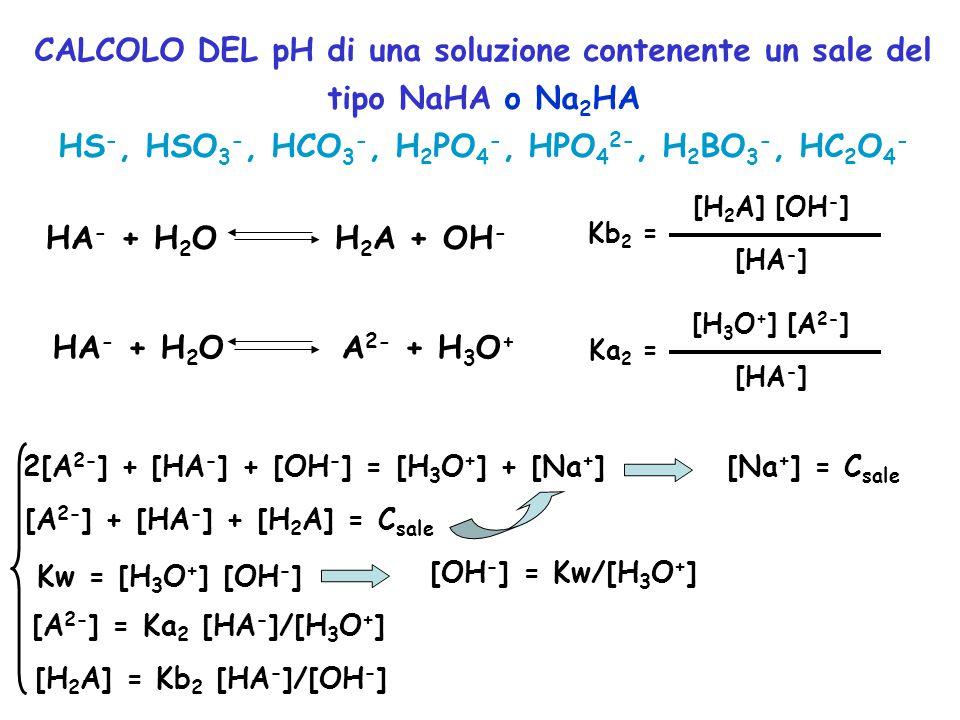CALCOLO DEL pH di una soluzione contenente un sale del tipo NaHA o Na 2 HA HS -, HSO 3 -, HCO 3 -, H 2 PO 4 -, HPO 4 2-, H 2 BO 3 -, HC 2 O 4 - HA - +