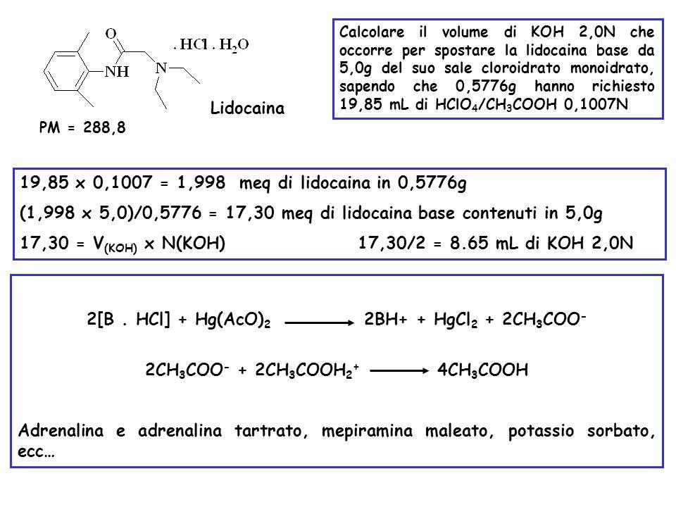 Lidocaina PM = 288,8 Calcolare il volume di KOH 2,0N che occorre per spostare la lidocaina base da 5,0g del suo sale cloroidrato monoidrato, sapendo c