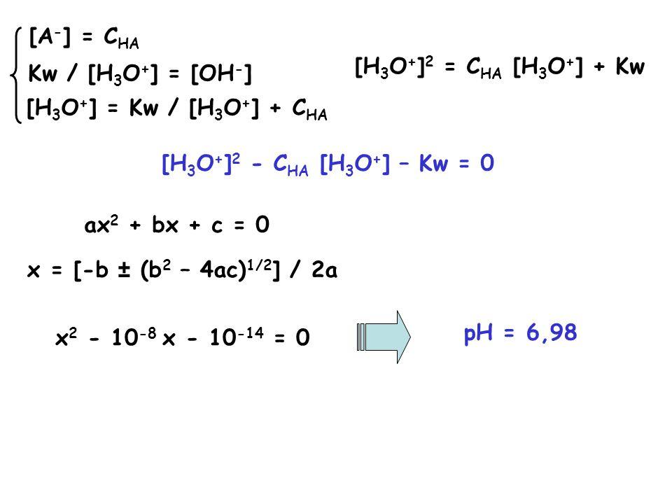 Calcolare il pH di una soluzione 10 -8 M di NaOH B + H 2 O BH + + OH - H 2 O + H 2 O H 3 O + + OH - [OH - ] = [H 3 O + ] + [BH + ] EN [BH + ] = C B BM Kw = [H 3 O + ] [OH - ] Kw / [H 3 O + ] = [H 3 O + ] + C B [BH + ] = C B Kw / [H 3 O + ] = [OH - ]Kw = [H 3 O + ] 2 + C B [H 3 O + ] [H 3 O + ] 2 + C B [H 3 O + ] – Kw = 0 x 2 + 10 -8 x - 10 -14 = 0 pH = 7,02