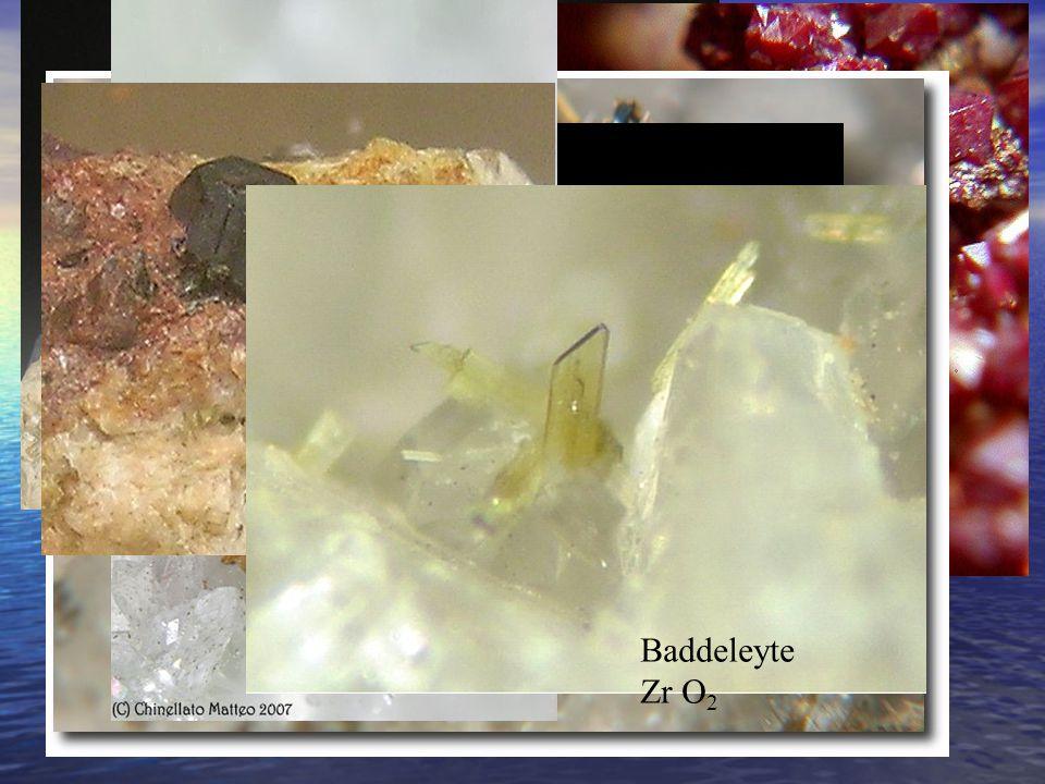 Ematite Fe 2 O 3 Cuprite Cu 2 O Rutilo TiO 2 Anatasio TiO 2 Brookite TiO 2 Uraninite UO 2 Baddeleyte Zr O 2