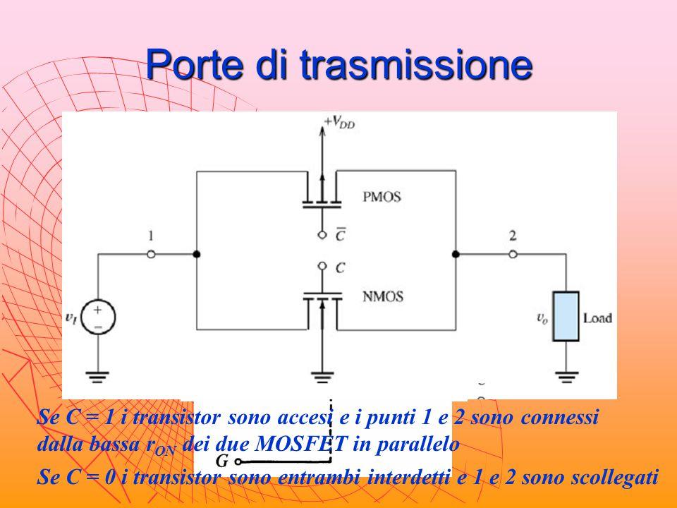 Porte di trasmissione = 0 = 1 Se C = 1 i transistor sono accesi e i punti 1 e 2 sono connessi dalla bassa r ON dei due MOSFET in parallelo Se C = 0 i