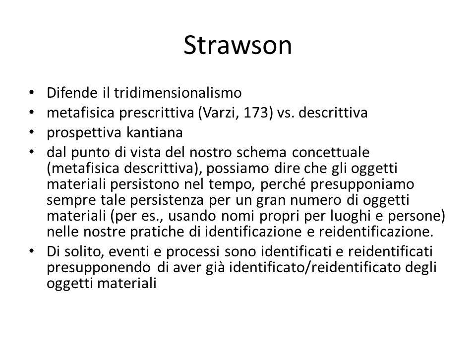 Strawson Difende il tridimensionalismo metafisica prescrittiva (Varzi, 173) vs. descrittiva prospettiva kantiana dal punto di vista del nostro schema