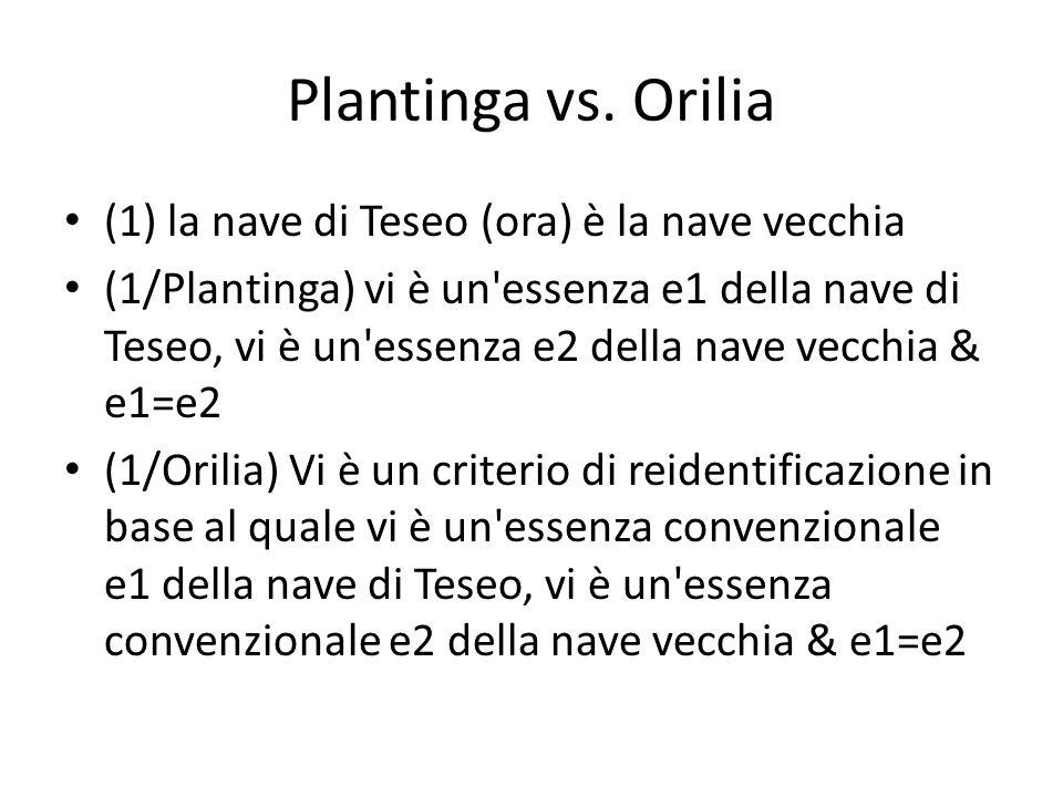 Plantinga vs. Orilia (1) la nave di Teseo (ora) è la nave vecchia (1/Plantinga) vi è un'essenza e1 della nave di Teseo, vi è un'essenza e2 della nave
