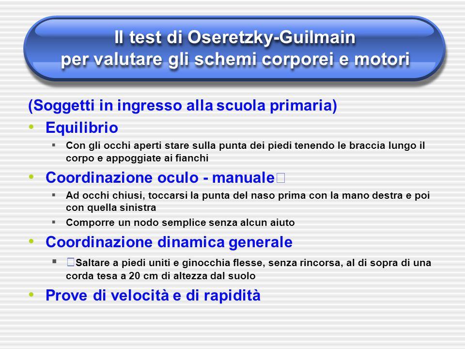 Il test di Oseretzky-Guilmain per valutare gli schemi corporei e motori (Soggetti in ingresso alla scuola primaria) Equilibrio  Con gli occhi aperti