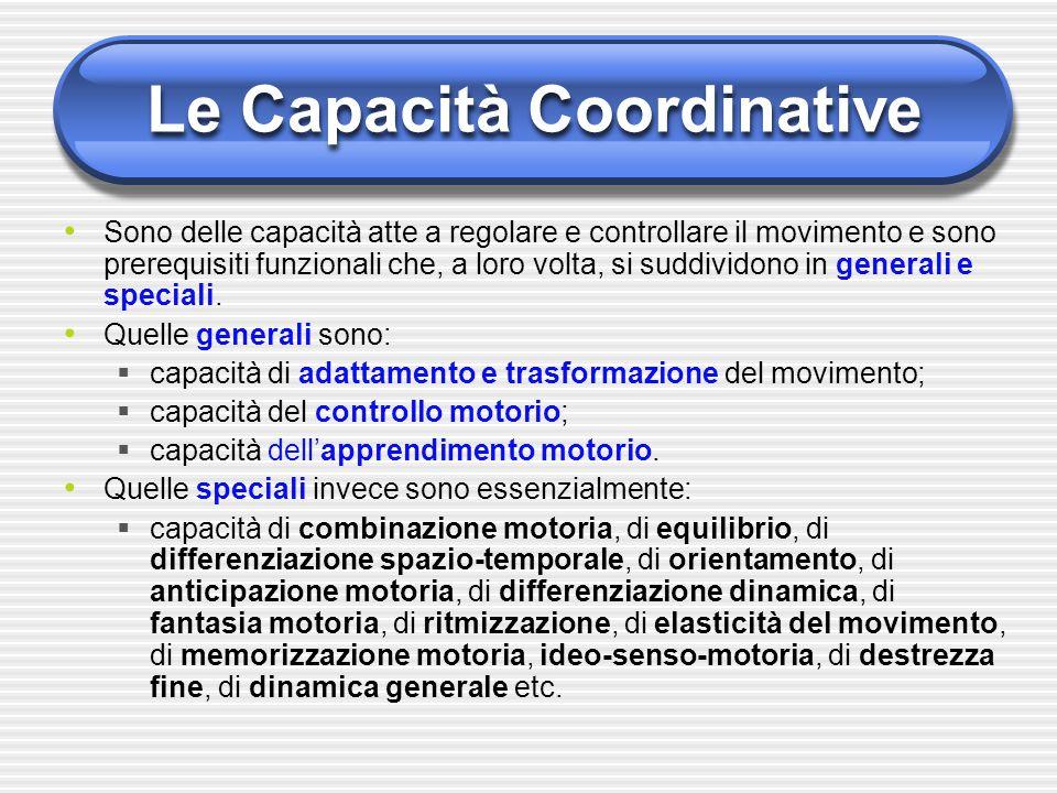 Le Capacità Coordinative Sono delle capacità atte a regolare e controllare il movimento e sono prerequisiti funzionali che, a loro volta, si suddivido