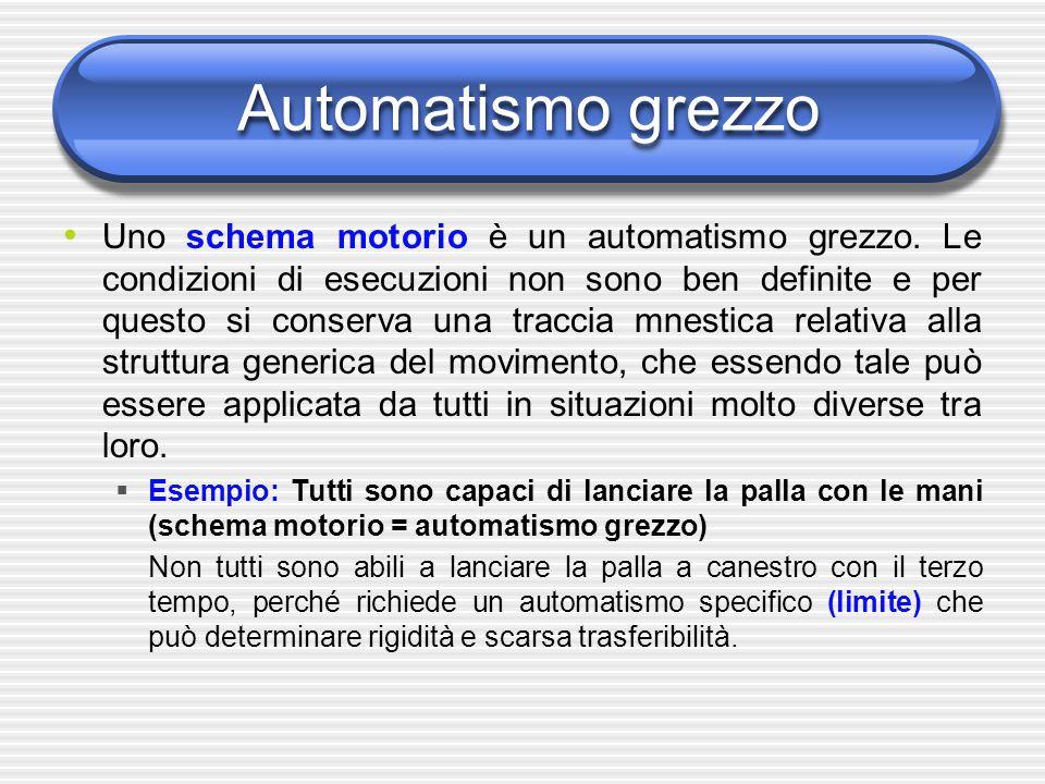 Automatismo grezzo Uno schema motorio è un automatismo grezzo. Le condizioni di esecuzioni non sono ben definite e per questo si conserva una traccia