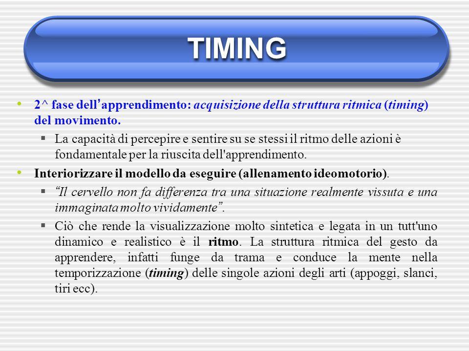 TIMING 2^ fase dell ' apprendimento: acquisizione della struttura ritmica (timing) del movimento.  La capacità di percepire e sentire su se stessi il