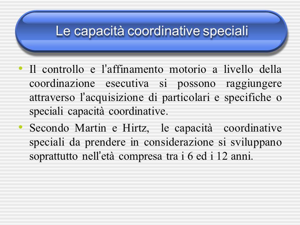 Le capacità coordinative speciali Il controllo e l ' affinamento motorio a livello della coordinazione esecutiva si possono raggiungere attraverso l '