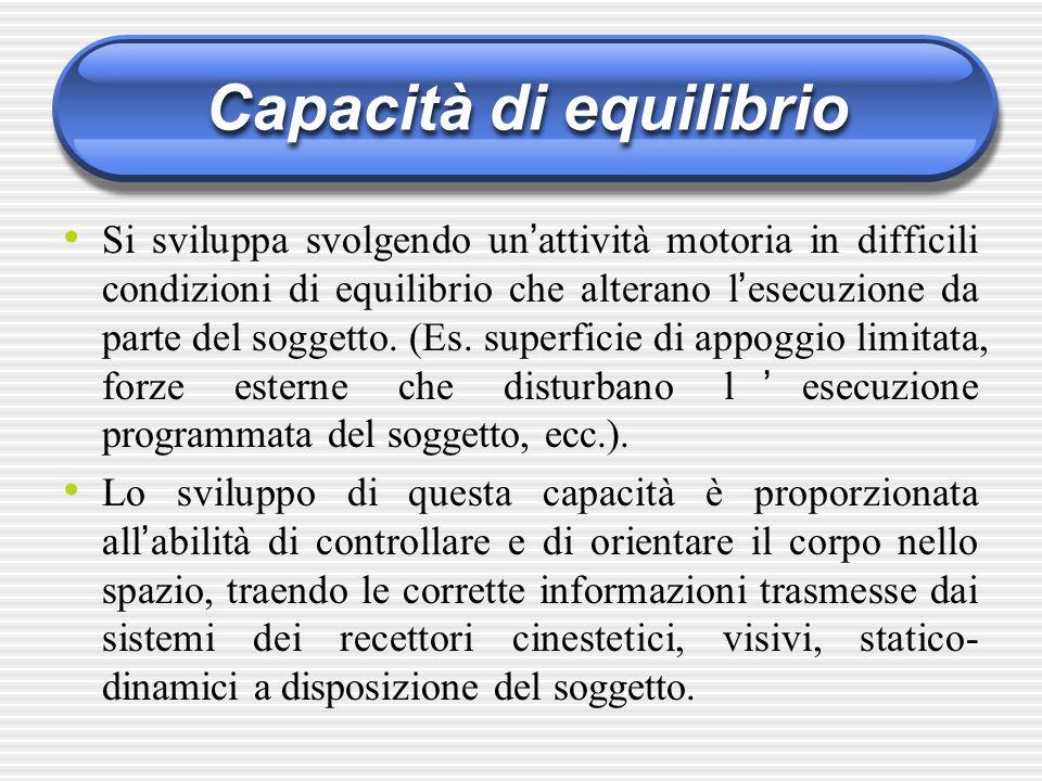 Capacità di equilibrio Si sviluppa svolgendo un ' attività motoria in difficili condizioni di equilibrio che alterano l ' esecuzione da parte del sogg