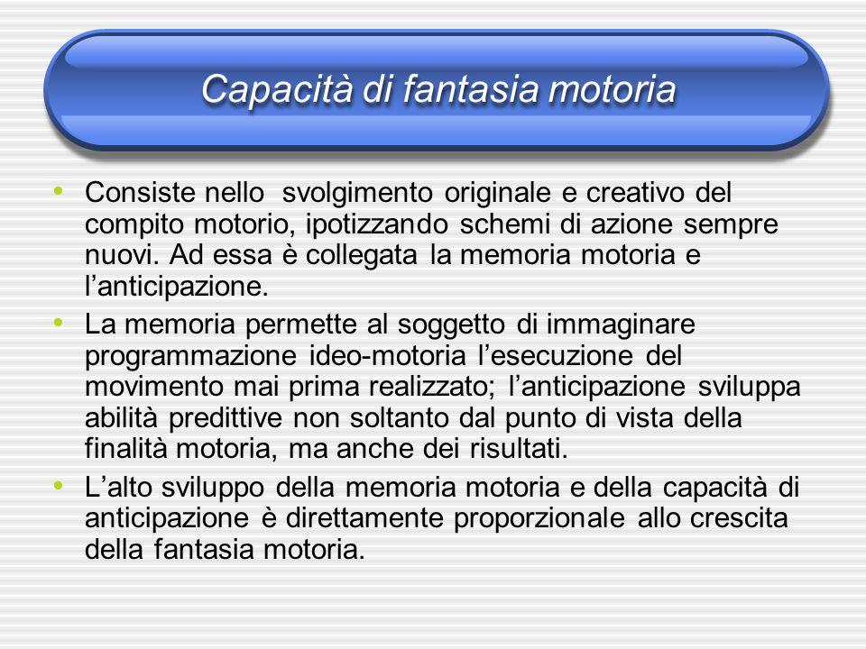 Capacità di fantasia motoria Consiste nello svolgimento originale e creativo del compito motorio, ipotizzando schemi di azione sempre nuovi. Ad essa è