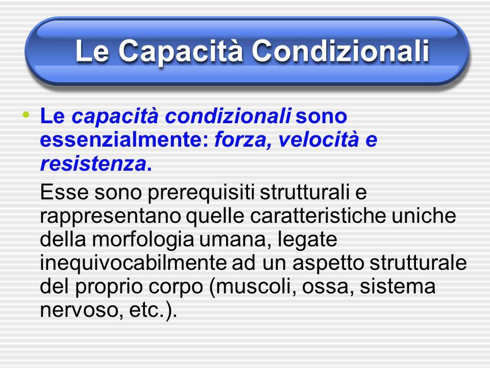Le Capacità Condizionali Le capacità condizionali sono essenzialmente: forza, velocità e resistenza. Esse sono prerequisiti strutturali e rappresentan