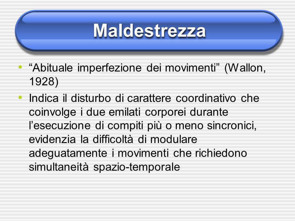 """Maldestrezza """"Abituale imperfezione dei movimenti"""" (Wallon, 1928) Indica il disturbo di carattere coordinativo che coinvolge i due emilati corporei du"""