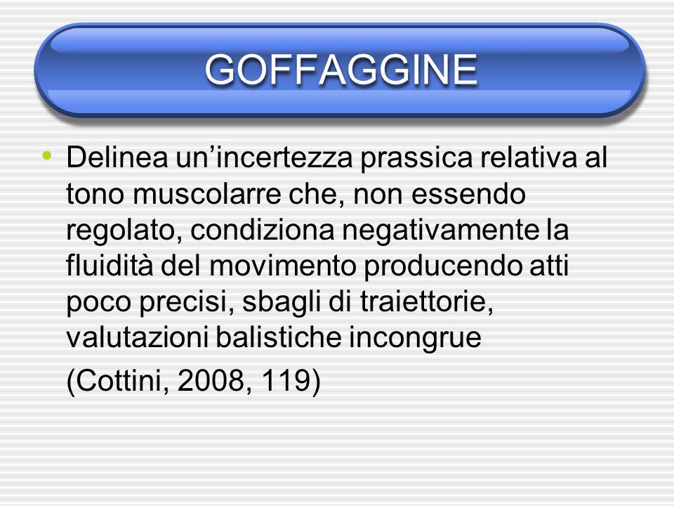 GOFFAGGINE Delinea un'incertezza prassica relativa al tono muscolarre che, non essendo regolato, condiziona negativamente la fluidità del movimento pr