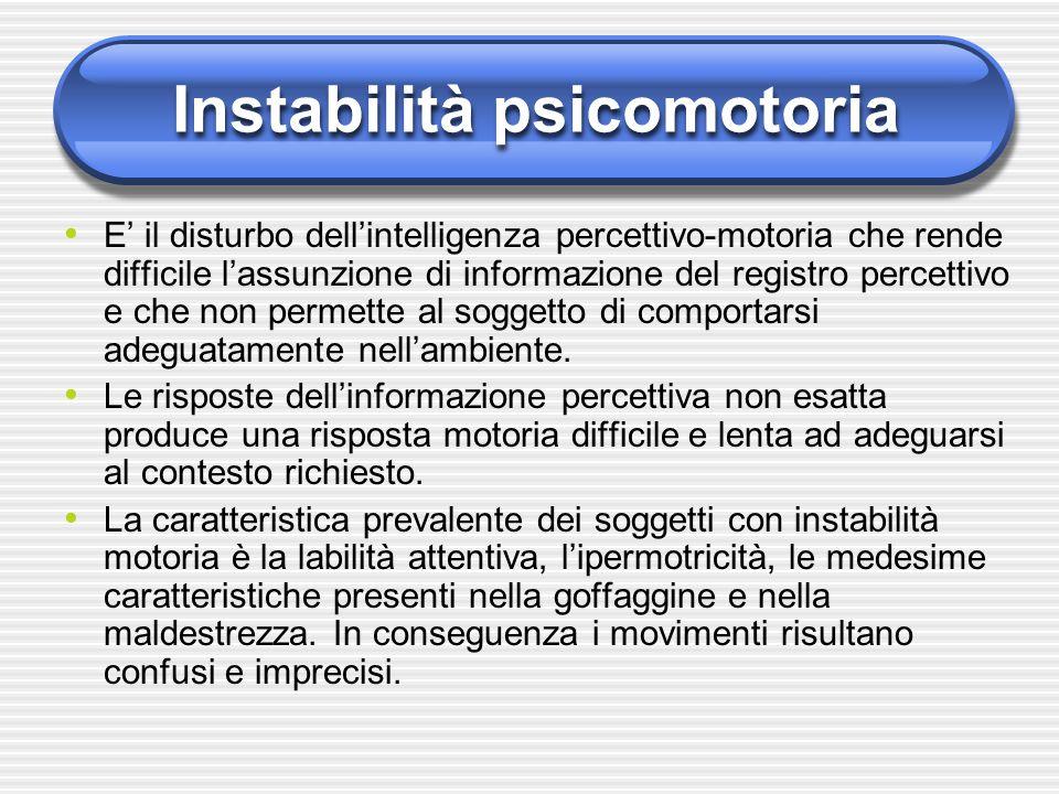 Instabilità psicomotoria E' il disturbo dell'intelligenza percettivo-motoria che rende difficile l'assunzione di informazione del registro percettivo