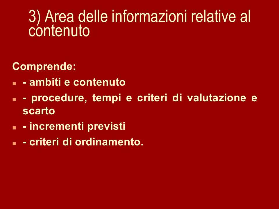3) Area delle informazioni relative al contenuto Comprende: n - ambiti e contenuto n - procedure, tempi e criteri di valutazione e scarto n - incrementi previsti n - criteri di ordinamento.