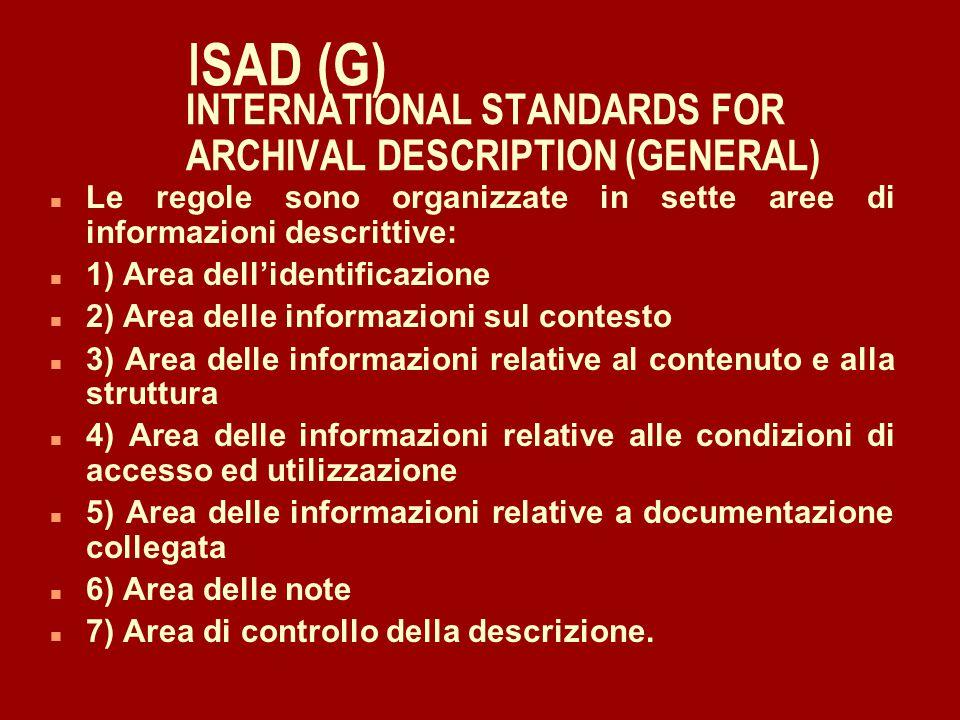 1) Area dell'identificazione Comprende: n - una segnatura o codice identificativo (es.