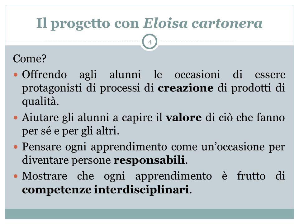 Il progetto con Eloisa cartonera 4 Come? Offrendo agli alunni le occasioni di essere protagonisti di processi di creazione di prodotti di qualità. Aiu